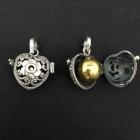 AHK14 Klangkugel Herz zum öffnen Silber geschwärzt 20x21 mm